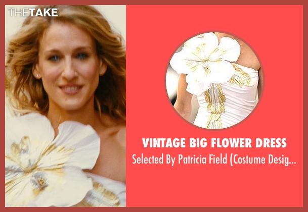 Vintage Big Flower Dress white field from Sex and the City seen with Sarah Jessica Parker (Carrie Bradshaw)