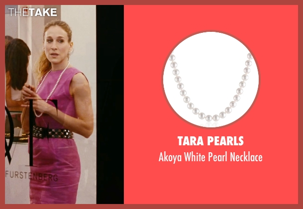 Tara Pearls white necklace from Sex and the City seen with Sarah Jessica Parker (Carrie Bradshaw)