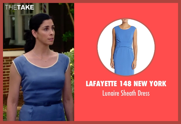 Lafayette 148 New York blue dress from Ashby seen with Sarah Silverman (June Wallis)