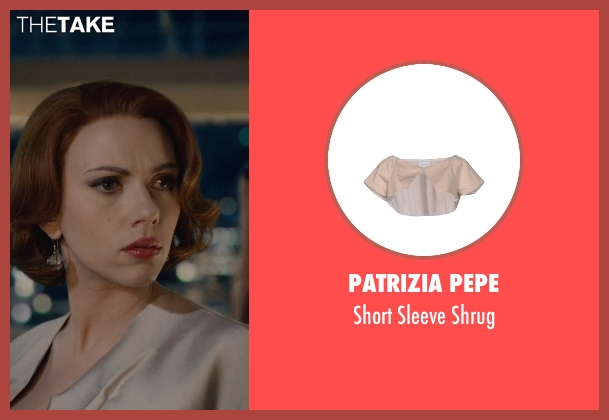 Patrizia Pepe beige shrug from Avengers: Age of Ultron seen with Scarlett Johansson (Natasha Romanoff / Black Widow)