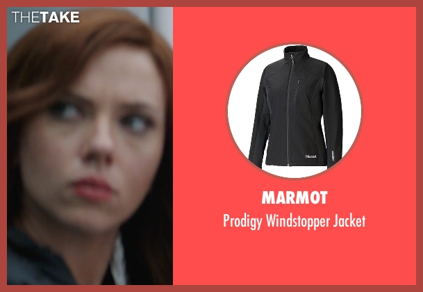 Marmot black jacket from Captain America: Civil War seen with Scarlett Johansson (Natasha Romanoff / Black Widow)