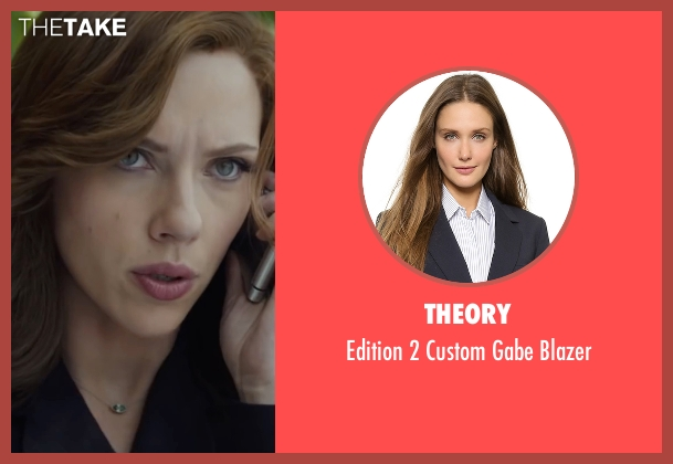 Theory blue blazer from Captain America: Civil War seen with Scarlett Johansson (Natasha Romanoff / Black Widow)