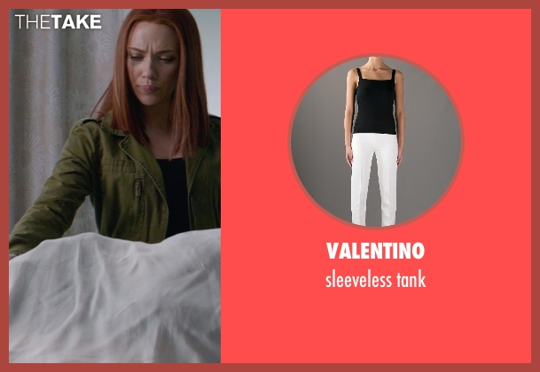 VALENTINO black tank from Captain America: The Winter Soldier seen with Scarlett Johansson (Natasha Romanoff / Black Widow)