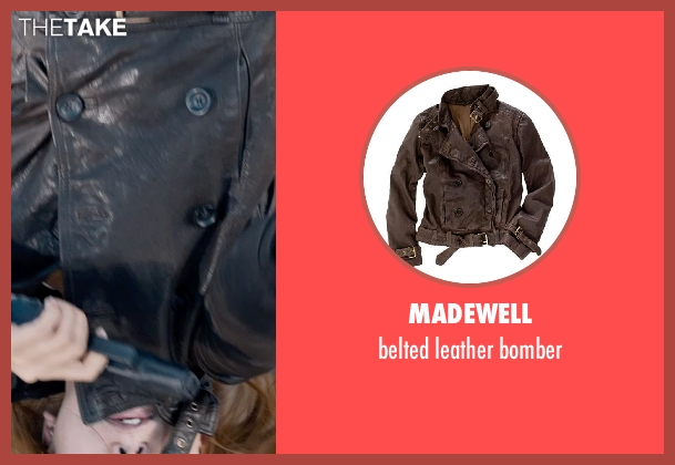 Madewell brown bomber from Captain America: The Winter Soldier seen with Scarlett Johansson (Natasha Romanoff / Black Widow)