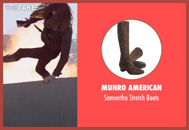 Munro American brown boots from Captain America: The Winter Soldier seen with Scarlett Johansson (Natasha Romanoff / Black Widow)