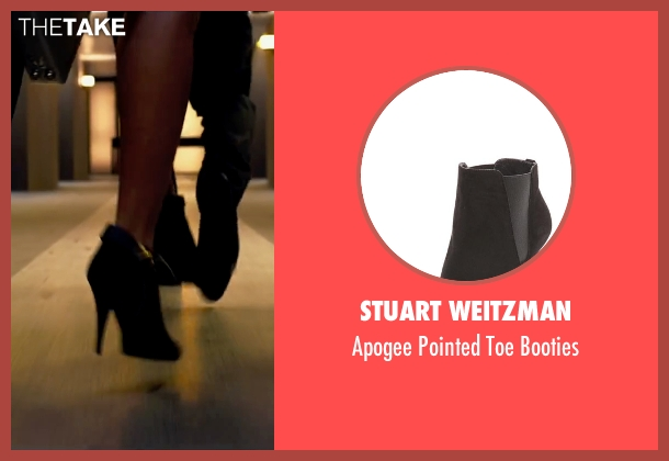 Stuart Weitzman black booties from Lucy seen with Scarlett Johansson (Lucy)