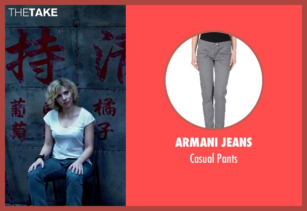 Armani Jeans gray pants from Lucy seen with Scarlett Johansson (Lucy)