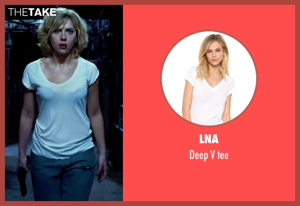 LNA white tee from Lucy seen with Scarlett Johansson (Lucy)