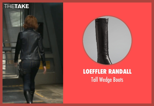 Loeffler Randall black boots from Marvel's The Avengers seen with Scarlett Johansson (Natasha Romanoff / Black Widow)