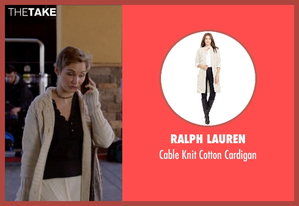 Ralph Lauren beige cardigan from Nashville seen with Scarlett O'Connor (Clare Bowen)