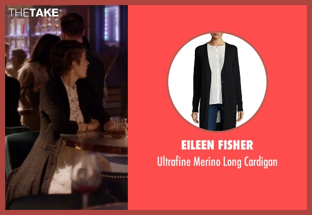 Eileen Fisher black cardigan from Nashville seen with Scarlett O'Connor (Clare Bowen)