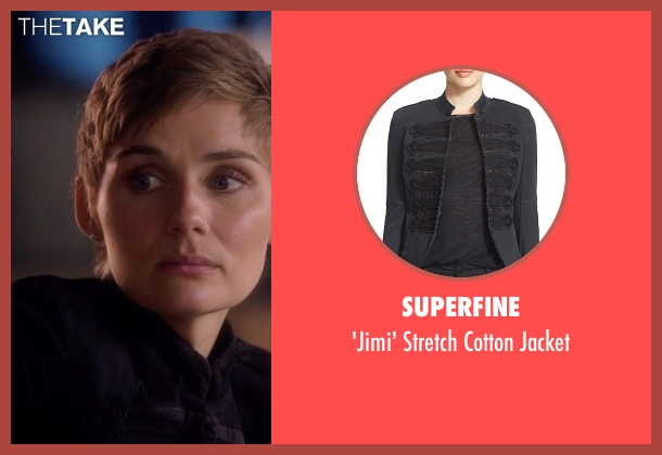 Superfine black cotton jacket from Nashville seen with Scarlett O'Connor (Clare Bowen)