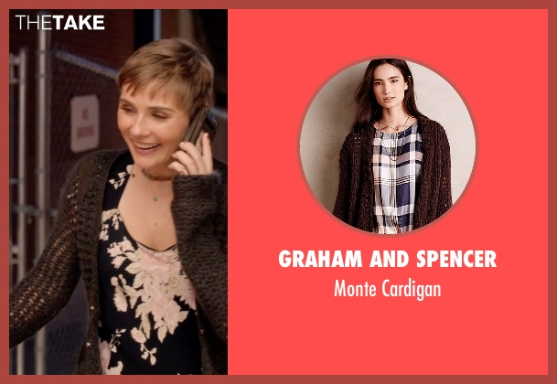 Graham and Spencer brown cardigan from Nashville seen with Scarlett O'Connor (Clare Bowen)