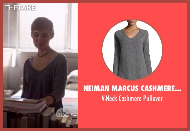 Neiman Marcus Cashmere Collection gray pullover from Nashville seen with Scarlett O'Connor (Clare Bowen)