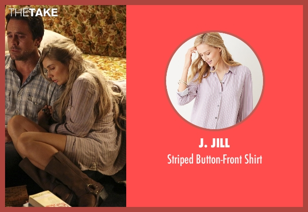 J. Jill purple shirt from Nashville seen with Scarlett O'Connor (Clare Bowen)