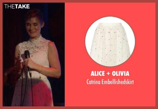 Alice + Olivia white embellishedskirt from Nashville seen with Scarlett O'Connor (Clare Bowen)