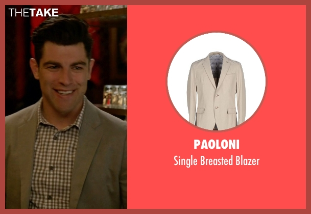 Paoloni beige blazer from New Girl seen with Schmidt (Max Greenfield)