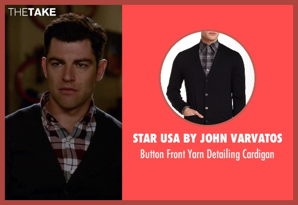 Star USA By John Varvatos black cardigan from New Girl seen with Schmidt (Max Greenfield)
