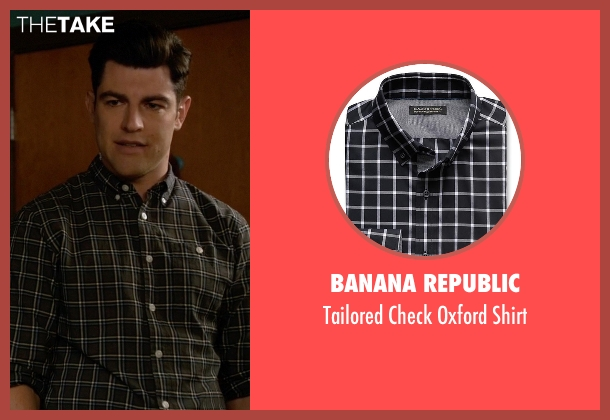 Banana Republic black shirt from New Girl seen with Schmidt (Max Greenfield)