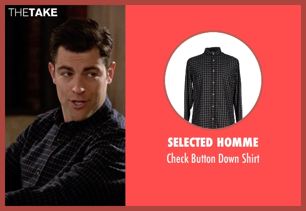 Selected Homme black shirt from New Girl seen with Schmidt (Max Greenfield)