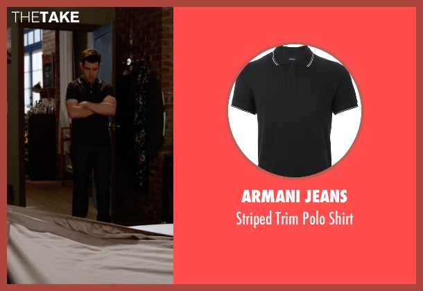 Armani Jeans black shirt from New Girl seen with Schmidt (Max Greenfield)
