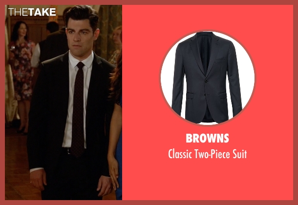 Browns black suit from New Girl seen with Schmidt (Max Greenfield)