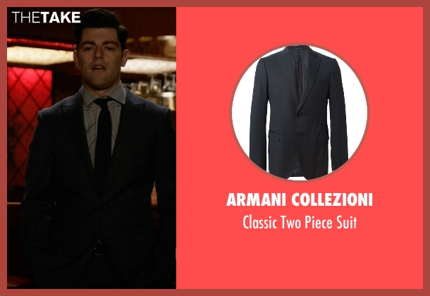 Armani Collezioni black suit from New Girl seen with Schmidt (Max Greenfield)