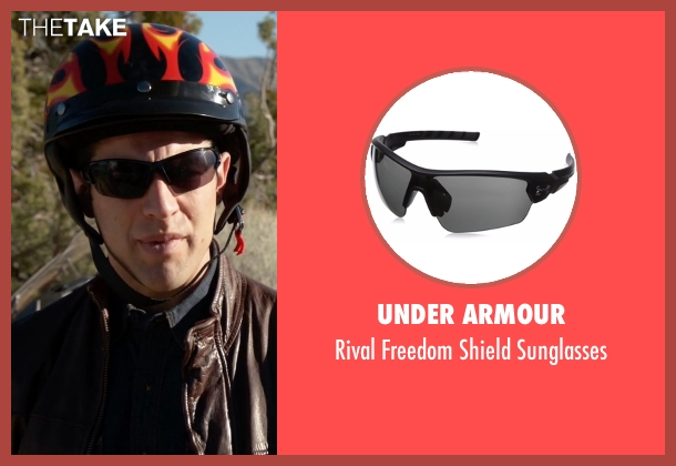Under Armour black sunglasses from New Girl seen with Schmidt (Max Greenfield)