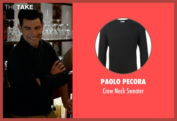Paolo Pecora black sweater from New Girl seen with Schmidt (Max Greenfield)