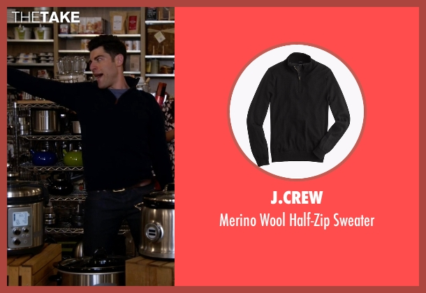 J.Crew black sweater from New Girl seen with Schmidt (Max Greenfield)