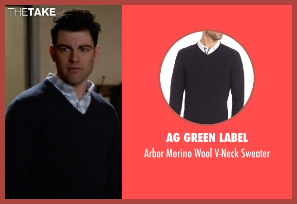 AG Green Label black sweater from New Girl seen with Schmidt (Max Greenfield)