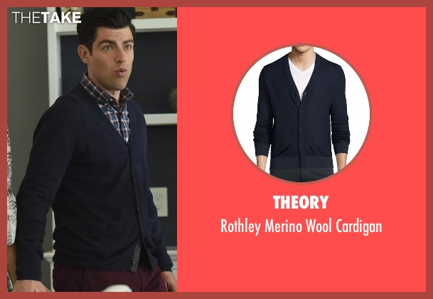Theory blue cardigan from New Girl seen with Schmidt (Max Greenfield)