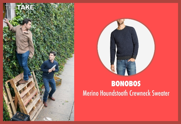 Bonobos blue crewneck sweater from New Girl seen with Schmidt (Max Greenfield)