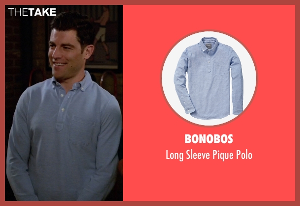 Bonobos blue polo from New Girl seen with Schmidt (Max Greenfield)