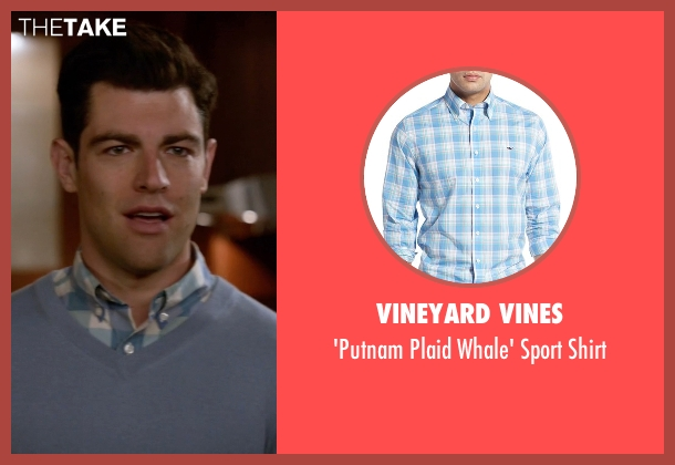 Vineyard Vines blue shirt from New Girl seen with Schmidt (Max Greenfield)