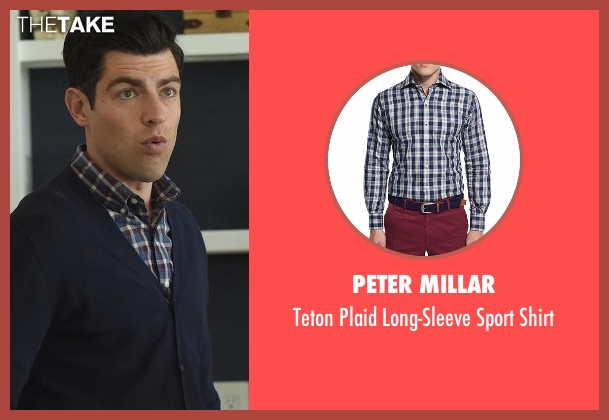 Peter Millar blue shirt from New Girl seen with Schmidt (Max Greenfield)