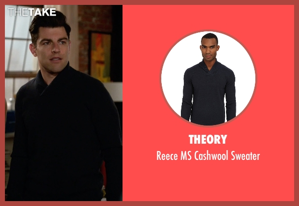 Theory blue sweater from New Girl seen with Schmidt (Max Greenfield)