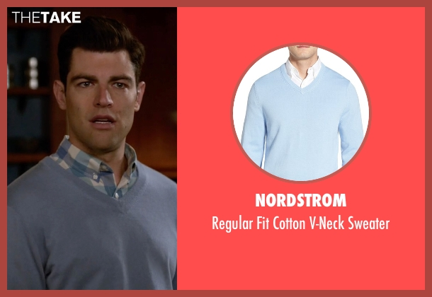 Nordstrom blue sweater from New Girl seen with Schmidt (Max Greenfield)