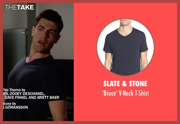 Slate & Stone blue t-shirt from New Girl seen with Schmidt (Max Greenfield)