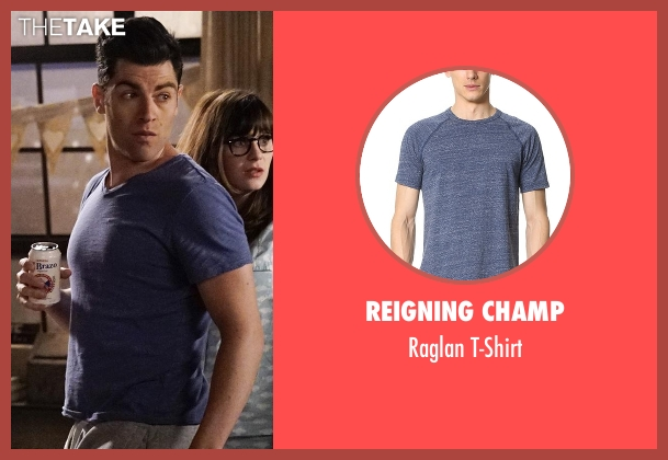 Reigning Champ  blue t-shirt from New Girl seen with Schmidt (Max Greenfield)