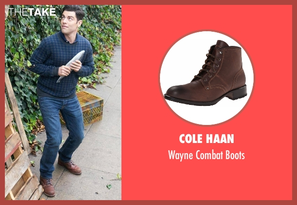 Cole Haan brown boots from New Girl seen with Schmidt (Max Greenfield)