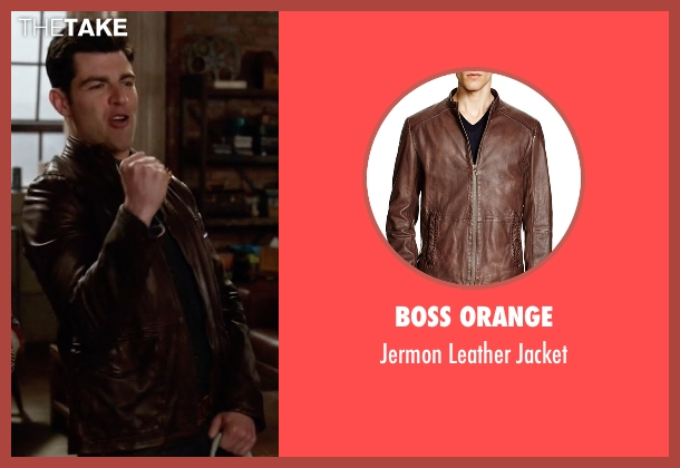 Boss Orange brown jacket from New Girl seen with Schmidt (Max Greenfield)