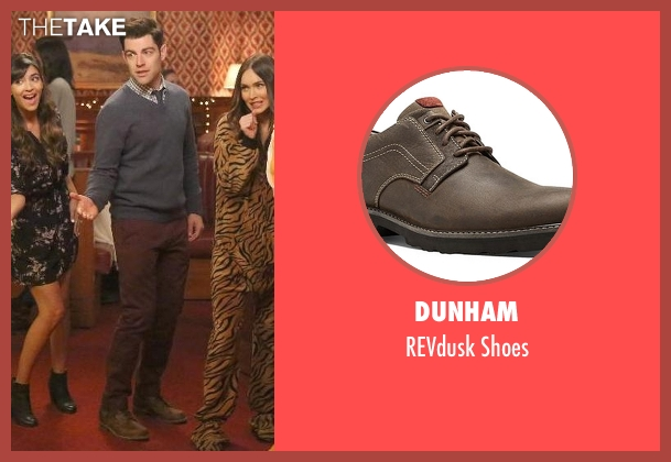 Dunham brown shoes from New Girl seen with Schmidt (Max Greenfield)