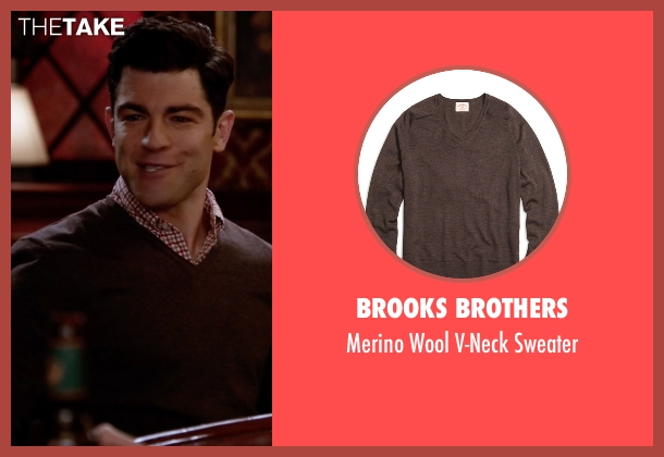 Brooks Brothers brown sweater from New Girl seen with Schmidt (Max Greenfield)