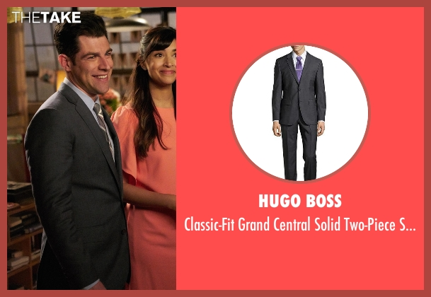Hugo Boss  gray suit from New Girl seen with Schmidt (Max Greenfield)
