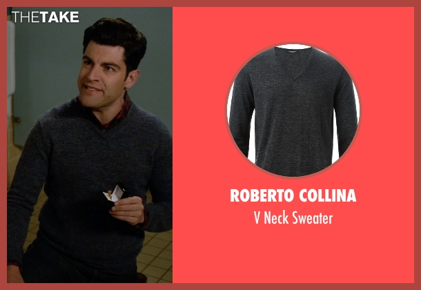 Roberto Collina gray sweater from New Girl seen with Schmidt (Max Greenfield)