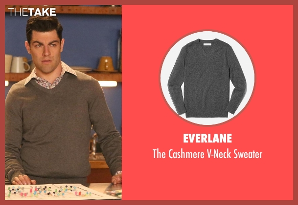 Everlane gray sweater from New Girl seen with Schmidt (Max Greenfield)