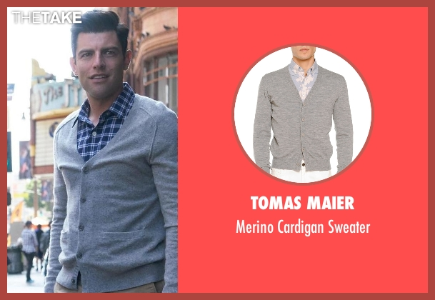 Tomas Maier gray sweater from New Girl seen with Schmidt (Max Greenfield)