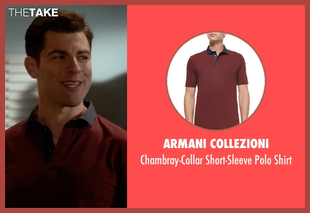 Armani Collezioni red shirt from New Girl seen with Schmidt (Max Greenfield)