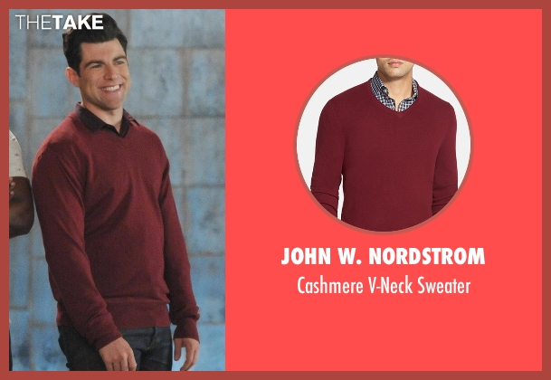John W. Nordstrom red sweater from New Girl seen with Schmidt (Max Greenfield)